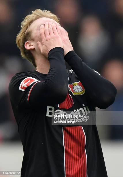 Julian Brandt of Bayer 04 Leverkusen reacts during the Bundesliga match between VfB Stuttgart and Bayer 04 Leverkusen at MercedesBenz Arena on April...