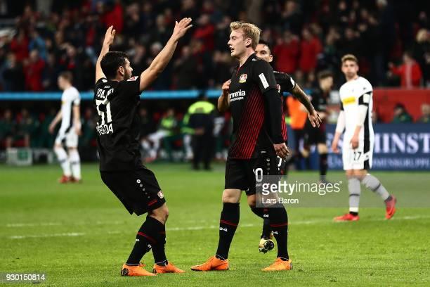 Julian Brandt of Bayer Leverkusen celebrates after he scored a goal to make it 20 during the Bundesliga match between Bayer 04 Leverkusen and...