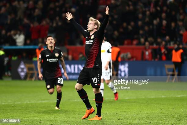 Julian Brandt of Bayer Leverkusen celebrates after he scored a goal to make it 20 during the Bundesliga match between Bayer 04 Leverkusen and...