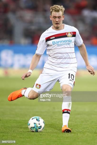 Julian Brandt of Bayer Leverkusen controls the ball during the Bundesliga match between Borussia Dortmund and Bayer 04 Leverkusen at Signal Iduna...