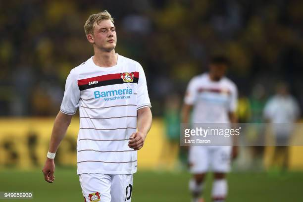 Julian Brandt of Bayer Leverkusen looks dejected after the Bundesliga match between Borussia Dortmund and Bayer 04 Leverkusen at Signal Iduna Park on...