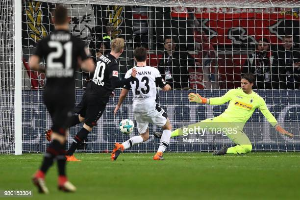 Julian Brandt of Bayer Leverkusen scores a goal to make it 20 during the Bundesliga match between Bayer 04 Leverkusen and Borussia Moenchengladbach...