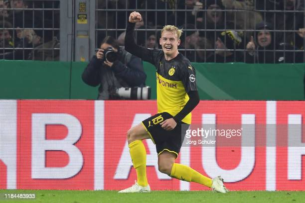 Julian Brandt of Borussia Dortmund celebrates after scoring his team's second goal during the DFB Cup second round match between Borussia Dortmund...