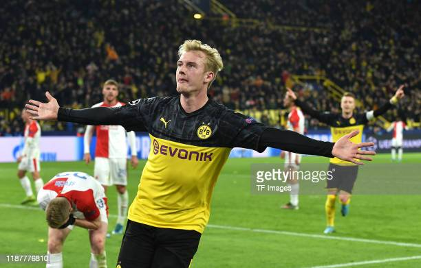 Julian Brandt of Borussia Dortmund celebrates after scoring his teams second goal during the UEFA Champions League group F match between Borussia...