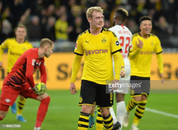 Julian Brandt of Borussia Dortmund celebrates after scoring his teams second goal during the Bundesliga match between Borussia Dortmund and RB...