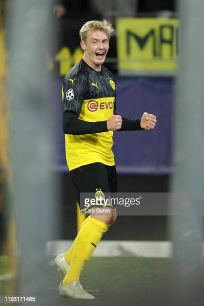 Julian Brandt of Borussia Dortmund celebrates after scoring his team's second goal during the UEFA Champions League group F match between Borussia...
