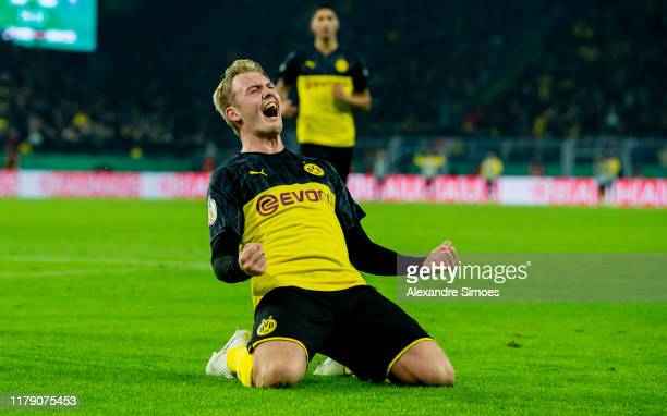 Julian Brandt of Borussia Dortmund celebrates scoring the goal to the 2:1 during the DFB Cup match between Borussia Dortmund and Borussia...