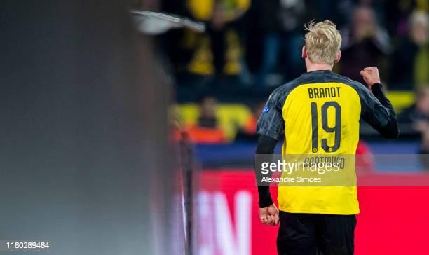 Julian Brandt of Borussia Dortmund celebrates scoring the goal to the 2:2 during the Group F - UEFA Champions League match between Borussia Dortmund...