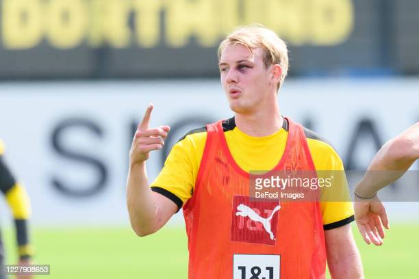 Julian Brandt of Borussia Dortmund gestures during the first training session after the summer break on August 03 2020 in Dortmund Germany
