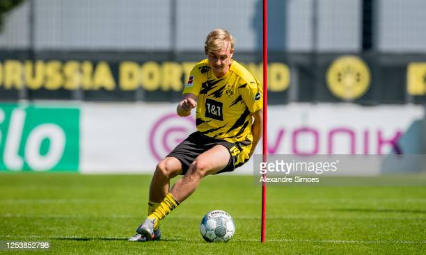 Julian Brandt of Borussia Dortmund is seen during a training session with the new PUMA home kit on June 24 2020 in Dortmund Germany