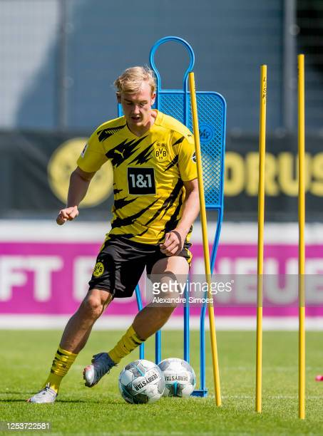 Julian Brandt of Borussia Dortmund participates in a training session while wearing the new PUMA kit on June 24 2020 in Dortmund Germany