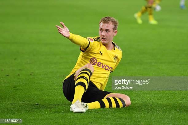 Julian Brandt of Borussia Dortmund reacts during the Bundesliga match between Borussia Dortmund and Borussia Moenchengladbach at Signal Iduna Park on...