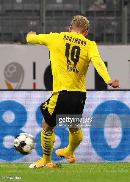 Julian Brandt of Borussia Dortmund scores his sides first goal during the Supercup 2020 match between FC Bayern Muenchen and Borussia Dortmund at...
