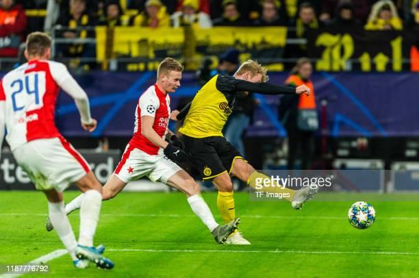 Julian Brandt of Borussia Dortmund scores his team's second goal during the UEFA Champions League group F match between Borussia Dortmund and Slavia...