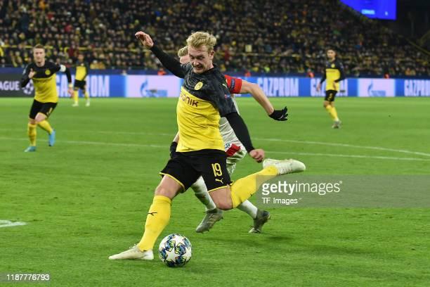Julian Brandt of Borussia Dortmund scores his teams second goal during the UEFA Champions League group F match between Borussia Dortmund and Slavia...