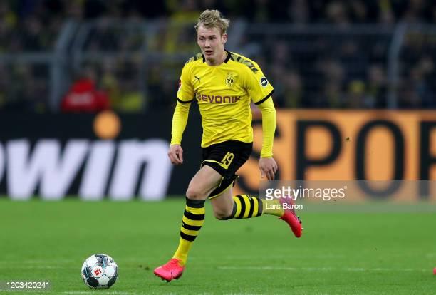 Julian Brandt of Dortmund runs with the ball during the Bundesliga match between Borussia Dortmund and 1. FC Union Berlin at Signal Iduna Park on...