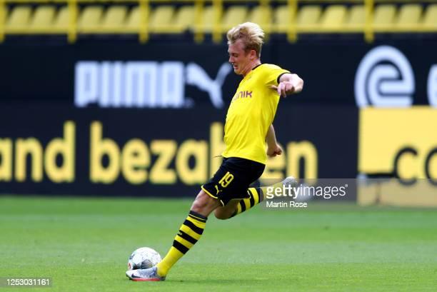 Julian Brandt of Dortmund runs with the ball during the Bundesliga match between Borussia Dortmund and TSG 1899 Hoffenheim at Signal Iduna Park on...