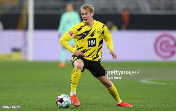 Julian Brandt of Dortmund runs with the ball during the Bundesliga match between Borussia Dortmund and Hertha BSC at Signal Iduna Park on March 13,...