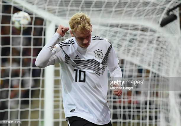 Julian Brandt of Germany celebrates after scoring his team's first goal during the International Friendly match between Germany and Peru on September...