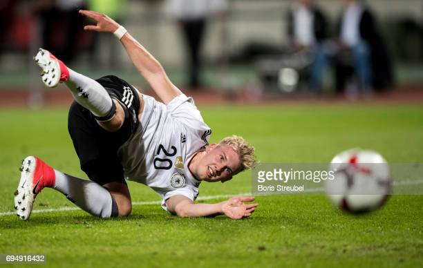 Julian Brandt of Germany celebrates after scoring his team's sixth goal during the FIFA 2018 World Cup Qualifier between Germany and San Marino at...