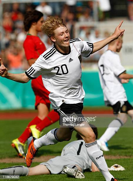Julian Brandt of Germany celebrates his 3-1 goal during the U 15 International friendly between Germany and Portugal at the Fuchs-Park Stadium on...