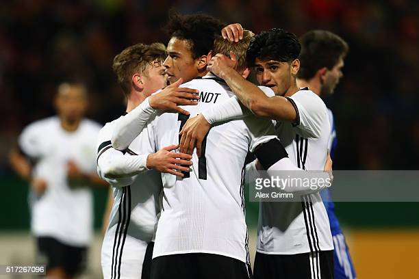 Julian Brandt of Germany celebrates his team's fourth goal with team mates Mahmoud Dahoud and Leroy Sane during the 2017 UEFA European U21...