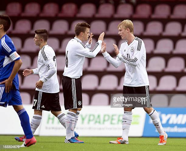 Julian Brandt of Germany celebrates scoring his side's fourth goal with Simon Kranitz during the UEFA Under17 EURO Qualifier between U17 San Marino...