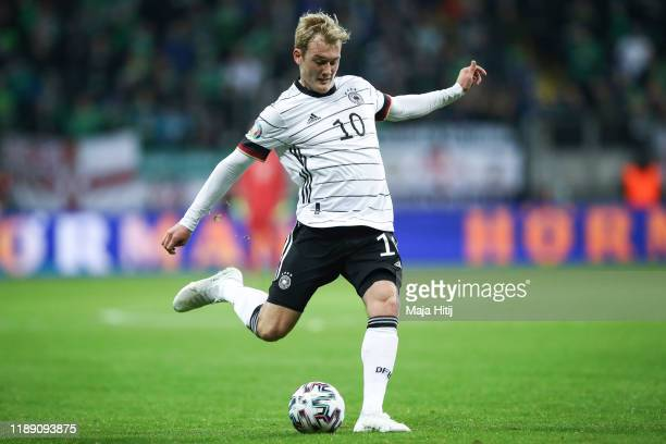 Julian Brandt of Germany controls the ball during the UEFA Euro 2020 Qualifier between Germany and Northern Ireland at Commerzbank Arena on November...