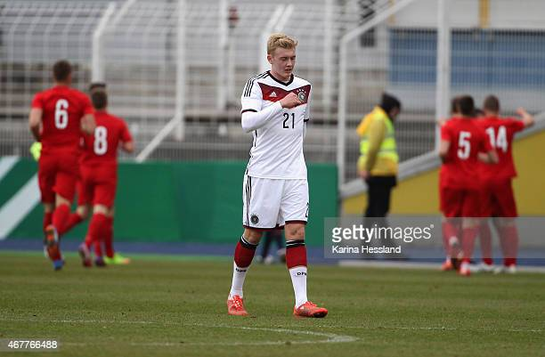 Julian Brandt of Germany looks dejected after the opening goal by Mariusz Stepinski of Poland during the International Friendly match between U20...