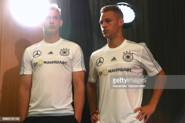Julian Brandt of Germany looks on with his team mate Joshua Kimmich prior to a Press Conference of the German national team at Radisson Blu Paradise...