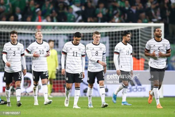 Julian Brandt of Germany reacts after scoring his team sixth goal during the UEFA Euro 2020 Qualifier between Germany and Northern Ireland at...