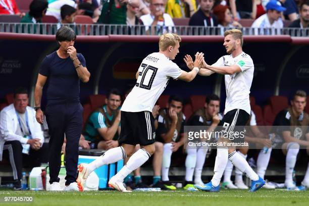 Julian Brandt of Germany replaces teammate Timo Werner as a substitute during the 2018 FIFA World Cup Russia group F match between Germany and Mexico...