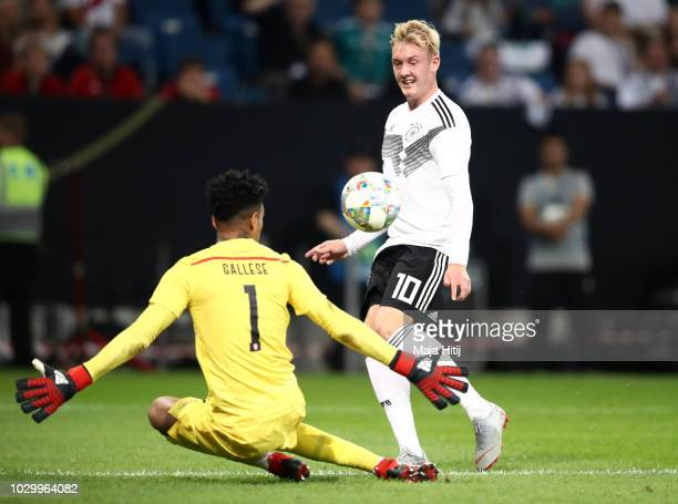 Julian Brandt of Germany scores his team's first goal past Pedro Gallese of Peru during the International Friendly match between Germany and Peru at...