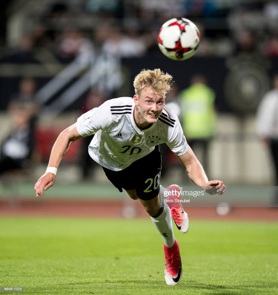 Julian Brandt of Germany scores his team's sixth goal with a header during the FIFA 2018 World Cup Qualifier between Germany and San Marino at Stadion Nuernberg on June 10, 2017 in Nuremberg, Germany.