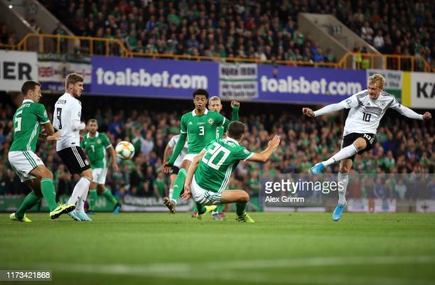 Julian Brandt of Germany shoots during the UEFA Euro 2020 qualifier match between Northern Ireland and Germany at Windsor Park on September 09 2019...