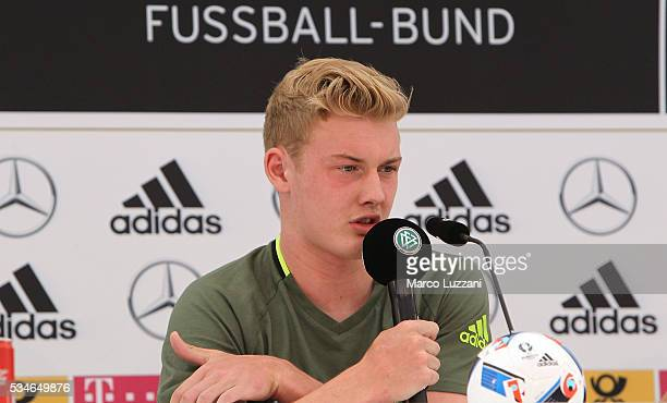 Julian Brandt of Germany speaks to the media during a press conference at the German national team's preEURO 2016 training camp on May 27 2016 in...