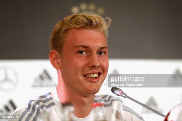 Julian Brandt of Germany talks to the media during a Press Conference of the German national team at Radisson Blu Paradise Resort Spa on June 16 2017...