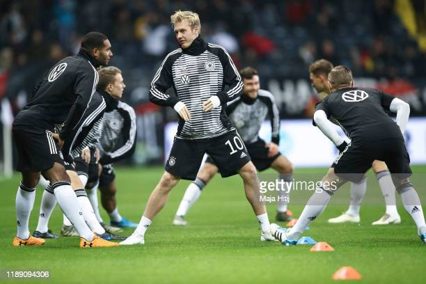 Julian Brandt of Germany warms up prior to the UEFA Euro 2020 Qualifier between Germany and Northern Ireland at Commerzbank Arena on November 19,...