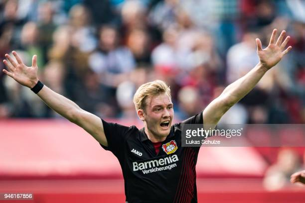 Julian Brandt of Leverkusen celebrates his goal during the Bundesliga match between Bayer 04 Leverkusen and Eintracht Frankfurt at BayArena on April...