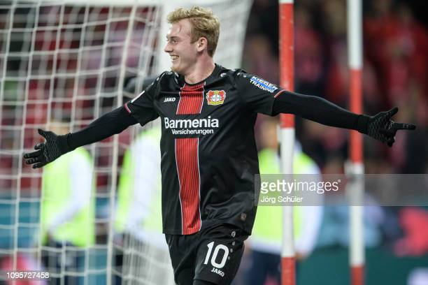 Julian Brandt of Leverkusen celebrates his goal for the 13 lead during the Bundesliga match between 1 FSV Mainz 05 and Bayer 04 Leverkusen at the...