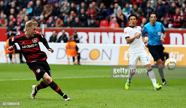 Julian Brandt of Leverkusen scores his teams second goal during the Bundesliga match between Bayer Leverkusen and Eintracht Frankfurt at BayArena on...