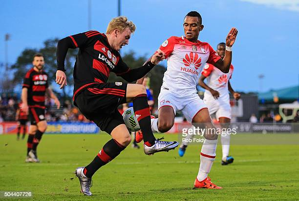 Julian Brandt of the Bayer Leverkusen in action against Ricardo Villarraga of the Indepediente Santa Fe during the match at the ESPN Wide World of...