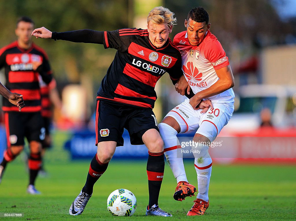 Julian Brandt #19 of the Bayer Leverkusen in action against Yeison Gordillo #30 of the Indepediente Santa Fe during the match at the ESPN Wide World of Sports Complex on January 10, 2016 in Kissimmee, Florida.