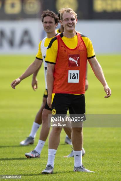 Julian Brandt smiles during the first training session of Borussia Dortmund after the summer break on August 03 2020 in Dortmund Germany