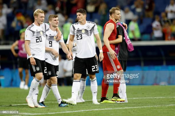 Julian Brandt Timo Werner and Mario Gomez of Germany celebrate after winning the match at the end of the 2018 FIFA World Cup Russia Group F match...