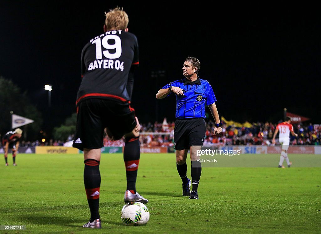 Julian Brandt waits to resume play after Sebastin Salazar #13 of the Indepediente Santa Fe was ejected with a red card during the match against Bayer Leverkusen at the ESPN Wide World of Sports Complex on January 10, 2016 in Kissimmee, Florida.