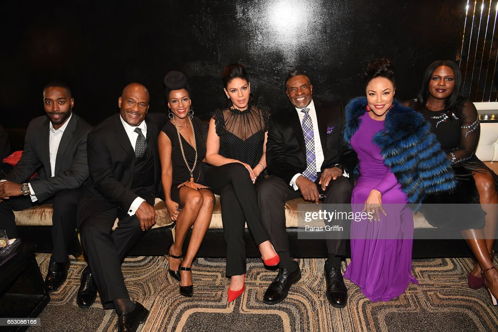 Julian Brittano, Gregory Alan Williams, Kim Hawthorne, Merle Dandridge, Keith David, Lynn Whitfield, and Deborah Joy Winans attend 'Greenleaf' Season 2 Premiere Party at W Atlanta Midtown on March 13, 2017 in Atlanta, Georgia.
