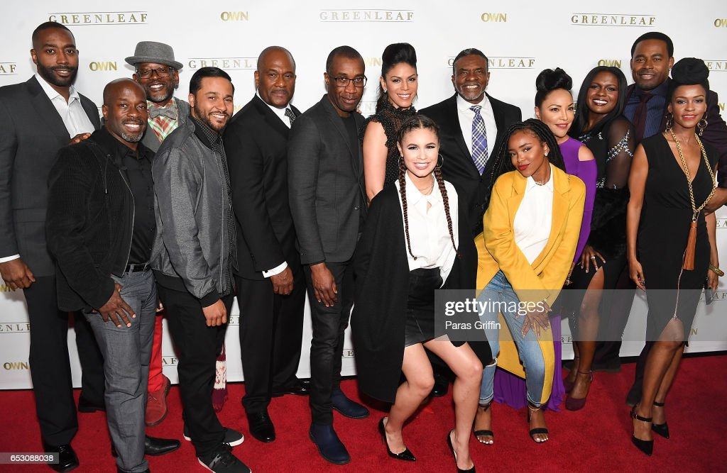 Julian Brittano, Parnell Damone Marcanom, T.C. Carson, Jason Dirden, Clement Virgo, Gregory Alan Williams, Merle Dandridge, Desiree Ross, Keith David, Lovie Simone, Lynn Whitfield, Deborah Joy Winans, Kim Hawthorne, and Lamman Rucker attend 'Greenleaf' Season 2 Premiere Party at W Atlanta Midtown on March 13, 2017 in Atlanta, Georgia.
