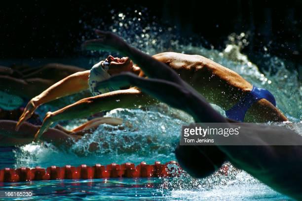 Julian Bunclark of England starts during the 200 metres backstroke final at the British swimming championships at Crystal Palace National Sports...
