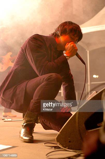 Julian Casablancas of The Strokes during Adam Green and The Strokes in Concert at the Central Park Summer Stage May 19 2004 at Central Park in New...